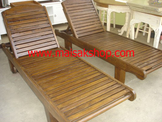 เฟอร์นิเจอร์ไม้สัก (Furniture) เตียงสนามไม้,เตียงสระน้ำไม้สักแบบมีล้อและที่วางแก้วเลื่อน ซ้าย ขวา 1