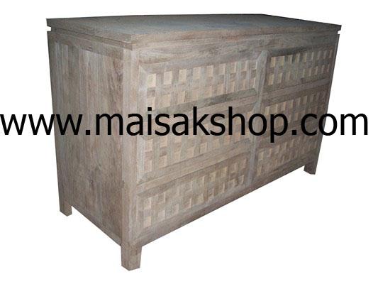 เฟอร์นิเจอร์ไม้สัก(Furniture)  ตู้,ตู้โชว์,ตู้โชว์ไม้สักแบบลายลูกเต๋า 6 ลิ้นชัก4