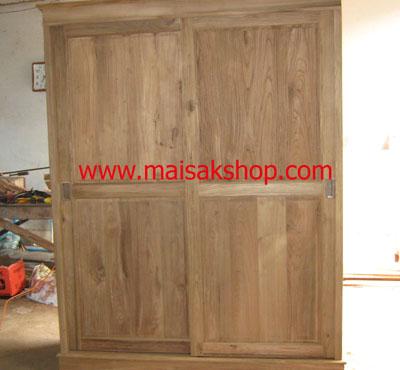 เฟอร์นิเจอร์ไม้สัก(Furniture)ตู้,ตู้เสื้อผ้าไม้,   ตู้เสื้อผ้าไม้สัก แบบบานเลื่อน001
