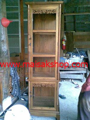 เฟอร์นิเจอร์ไม้สัก(furniture) ตู้โบราณไม้สัก แบบโบราณ บานเดียว 4 ชั้นลายฉลุ
