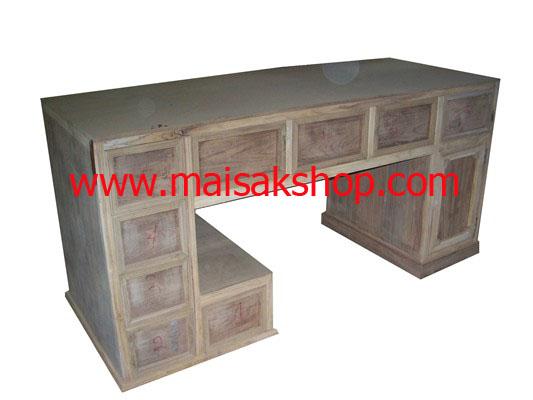 เฟอร์นิเจอร์ไม้สัก (Furniture) โต๊ะ, โต๊ะทำงานไม้สัก ใหญ่รูปแบบทันสมัย 9 ลิ้นชัก 1 บานเปิด