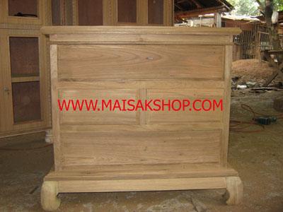 เฟอร์นิเจอร์ไม้สัก (Furniture) ตู้หัวเตียงไม้สักหรือตู้ข้างเตียงไม้สักแบบไทยโบราณขาคู้ 3 ลิ้นชัก