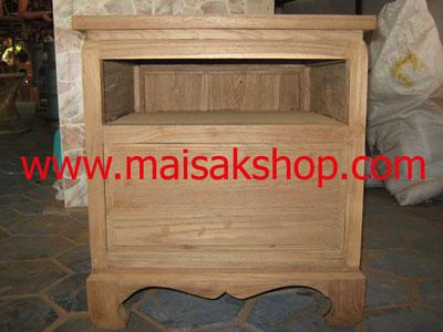 เฟอร์นิเจอร์ไม้สัก (Furniture)  ตู้หัวเตียงไม้สักหรือตู้ข้างเตียงไม้สักแบบไทยโบราณขาคู้ 1 ลิ้นชัก
