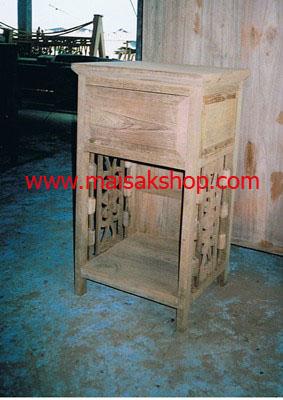 เฟอร์นิเจอร์ไม้สัก (Furniture)   ตู้หัวเตียงไม้สักหรือตู้ข้างเเตียงไม้สักแบบไทยโบราณลายฉลู 1 ลิ้นชัก