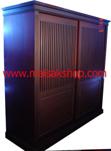 เฟอร์นิเจอร์ไม้สัก (Furniture)  ตู้,ตู้เสื้อผ้าไม้,   ตู้เสื้อผ้าไม้สัก แบบบานเลื่อน003