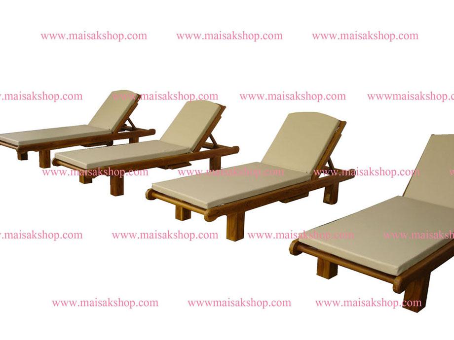เฟอร์นิเจอร์ไม้สัก (Furniture) เตียงสนามไม้,เตียงสระน้ำไม้สักแบบมีล้อและที่วางแก้วเลื่อน ซ้าย ขวา