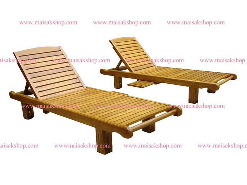 เฟอร์นิเจอร์ไม้สัก (Furniture) เตียงสนามไม้,เตียงสระน้ำไม้สักแบบมีล้อและที่วางแก้วเลื่อน ซ้าย ขวา 2
