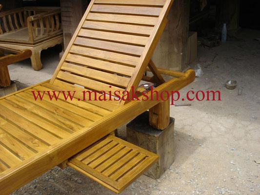 เฟอร์นิเจอร์ไม้สัก (Furniture) เตียงสนามไม้,เตียงสระน้ำไม้สักแบบมีล้อและที่วางแก้วเลื่อน ซ้าย ขวา 3