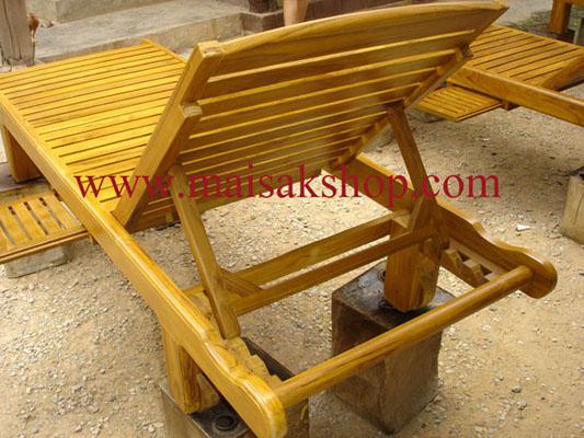 เฟอร์นิเจอร์ไม้สัก (Furniture) เตียงสนามไม้,เตียงสระน้ำไม้สักแบบมีล้อและที่วางแก้วเลื่อน ซ้าย ขวา 4