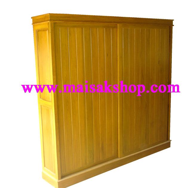 เฟอร์นิเจอร์ไม้สัก (Furniture)  ตู้,ตู้เสื้อผ้าไม้,   ตู้เสื้อผ้าไม้สัก แบบบานเลื่อน036