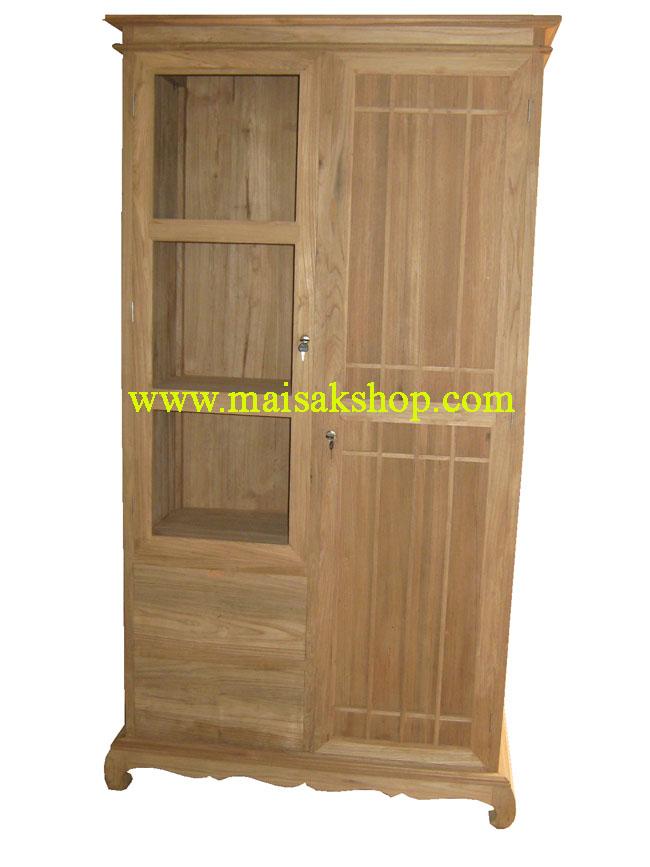 เฟอร์นิเจอร์ไม้สัก (Furniture)  ตู้,ตู้เสื้อผ้าไม้,   ตู้เสื้อผ้าไม้สัก แบบบานเลื่อน099