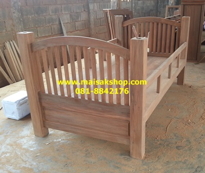 เฟอร์นิเจอร์ไม้สัก(Furniture) เตียง,เตียงนอน,เตียงนอนไม้สักแบบ2 ชั้นหัวโค้งไม้ซี่
