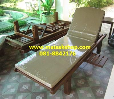 เฟอร์นิเจอร์ไม้สัก(Furniture) เตียงสนาม,เตียงสนามไม้,เตียงสระน้ำไม้สักแบบหัวโค้งมีล้อ