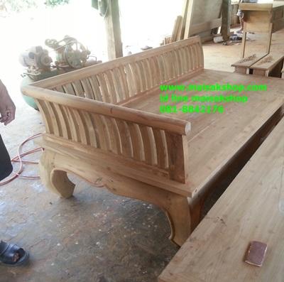 เฟอร์นิเจอร์ไม้สัก(Furniture) ตั่งขาคู้พนักพิงโค้งไม้ชี่