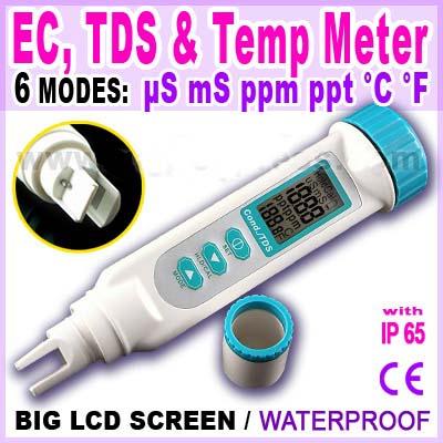 มิเตอร์วัดค่า EC / TDS / Temperature แบบ 3in1 ในตัวเดียว