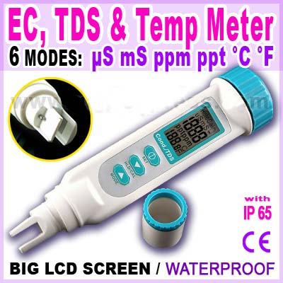 มิเตอร์วัดค่า EC / TDS / Temperature แบบ 3in1 ในตัวเดียว ฟรี! น้ำยาสอบเทียบค่า 1.413 mS ขนาด 40 ml.
