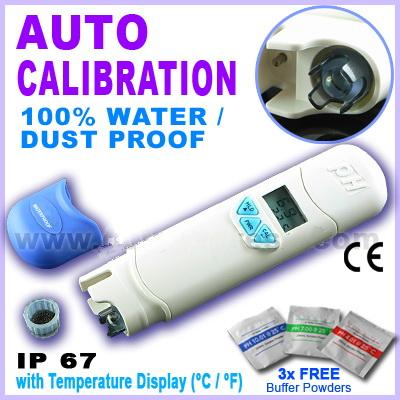 เครื่องวัดกรดด่าง (pH) และอุณหภูมิ กันน้ำได้ รุ่น AZ-81 ฟรี! Calibrate Solutions 4,7,10