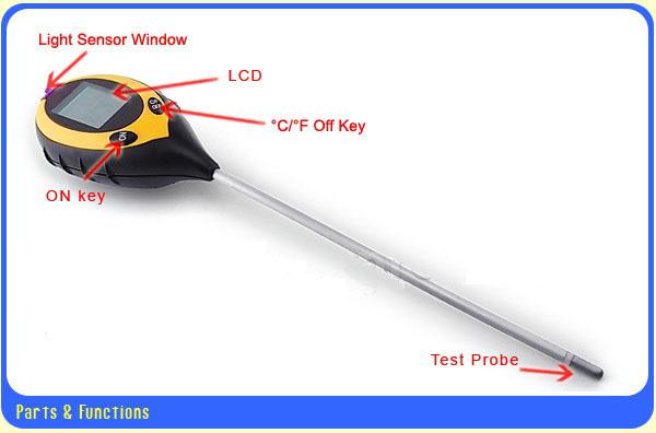 เครื่องวัดดิน ระบบดิจิตอล 4in1 - วัดค่า pH ดิน, วัดความชื้นดิน, วัดอุณหภูมิดิน และค่าแสง รุ่น DSM-90 2
