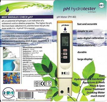 เครื่องวัดค่ากรดด่าง (pH) และอุณหภูมิ ใช้ปลูกผักไฮโดรโปนิกส์ ผักไร้ดิน รุ่น HM-80 ฟรี! น้ำยาสอบเทียบ 1