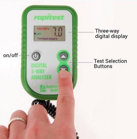 เครื่องวัดดิน 3in1 ระบบดิจิตอล ใช้วัดปุ๋ย NPK โดยรวมในดิน, วัด pH ดิน, อุณหภูมิดิน 2