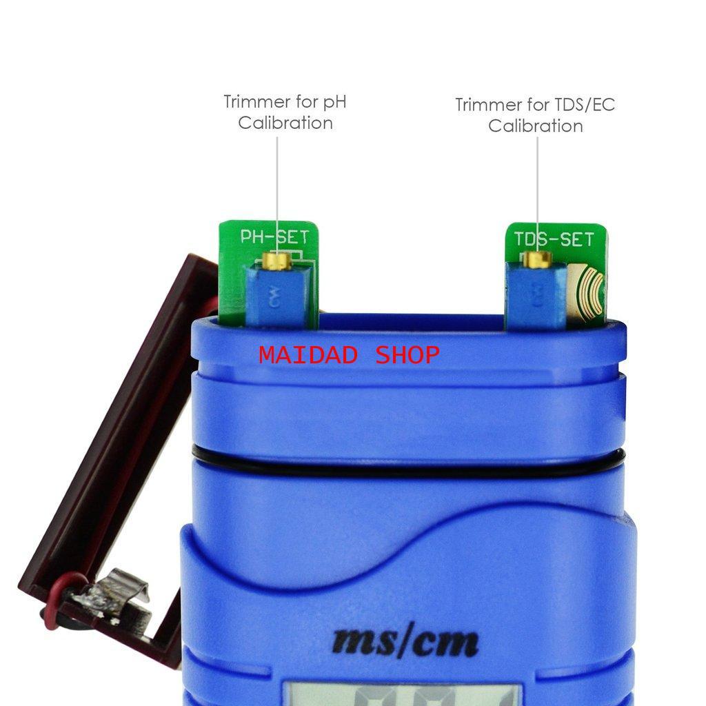 เครื่องวัด EC, pH, อุณหภูมิ แบบ 3in1 หน่วย EC เป็น mS ใช้วัดค่าปุ๋ย A+B, pH ในการปลูกผักไฮโดรโปนิกส์ 4