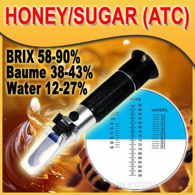 เครื่องวัดความหวานน้ำผึ้ง ความชื้นน้ำผึ้ง น้ำเชื่อม 58-90 เปอร์เซ็น Brix รุ่น RHB-90ATC