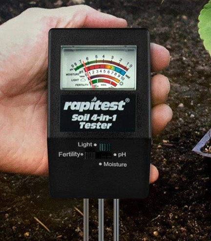 เครื่องวัดดิน แบบ 4in1 วัดปุ๋ย NPK โดยรวมในดิน, pH ดิน, ความชื้น และปริมาณแสง