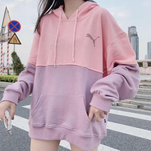 เสื้อฮู้ดเกาหลี สีชมพู ม่วง