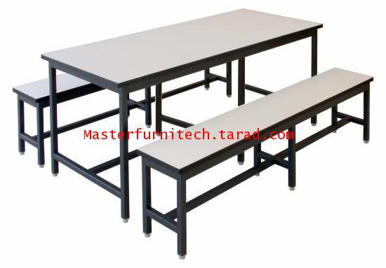 ชุดโต๊ะโรงอาหาร หน้าโฟเมก้าขาว