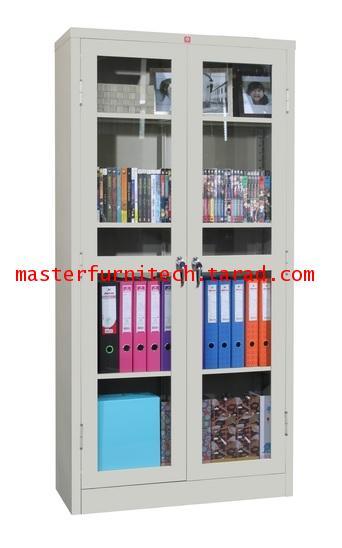ตู้หนังสือบานเปิดกระจกสูง KWG-183-MC