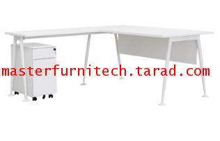 โต๊ะทำงานสีขาวพร้อมตู้ลิ้นชัก ทรง L shape