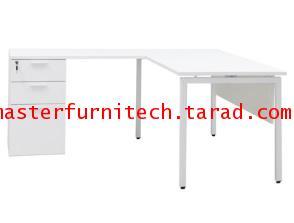 โต๊ะทำงานสีขาวพร้อมตู้ลิ้นชักติดโต๊ะ แบบขาตรง