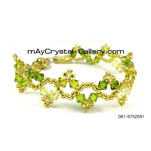 สร้อยข้อมือ คริสตัลแบรนด์แท้ (Embellished with Crystals from Austria)  = เถาวัลย์สีเขียว