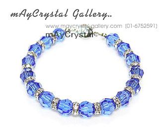 สร้อยข้อมือ คริสตัล Swarovski  เม็ดโต ๆ ( Sapphire )
