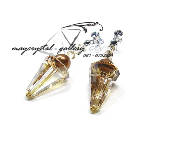 ต่างหู SWAROVSKI CRYSTAL = รูปทรงเม็ดใหม่ล่าสุด Golden 2