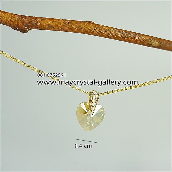 จี้คริสตัลแท้ (Embellished with Crystals from Austria = My Heart สีชาเคลือบวาวทองพิเศษ