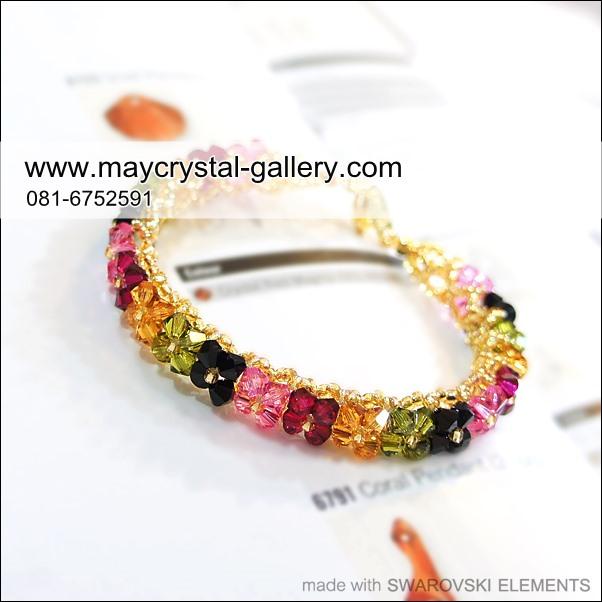 สร้อยข้อมือ คริสตัลแบรนด์แท้ จากยุโรป (Embellished with Crystals from Austria)  = ดอกพิกุลโทนเข้ม