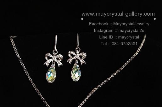 ต่างหูหยดน้ำคริสตัลแบรนด์ จากประเทศออสเตรีย (Embellished with Crystals from Austria)