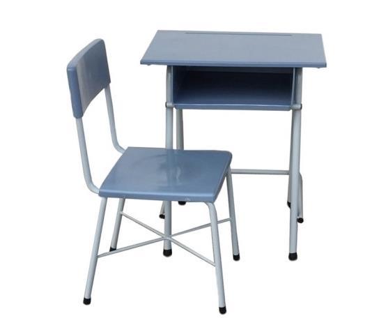 MD2-011 โต๊ะเก้าอี้นักเรียน สปช.001 พลาสติกขาเหล็กกลมสีเทา ระดับมัธยมฯ