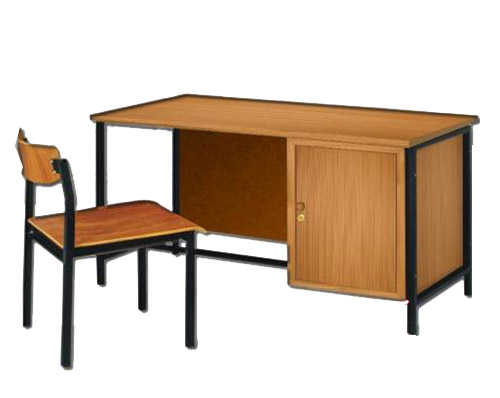 MD10-001 โต๊ะเก้าอี้ครูระดับ 1-2ไม้สักอัด