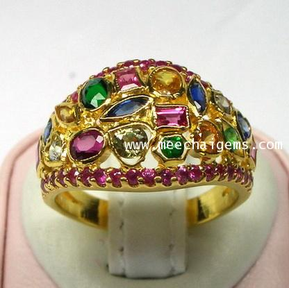 แหวนพลอยแฟนซีสลับสีขอบพลอยทับทิม