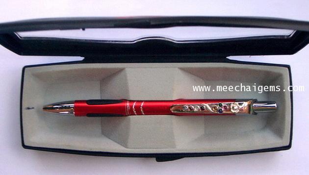 ปากกาประดับพลอยนพเก้าแท้