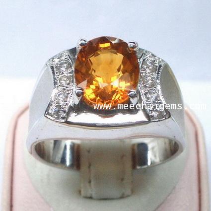 แหวนพลอยซิทรินแท้ดีไซน์สุดเท่ห์ประดับตัวเรือนเงินแท้ชุบทองคำขาว