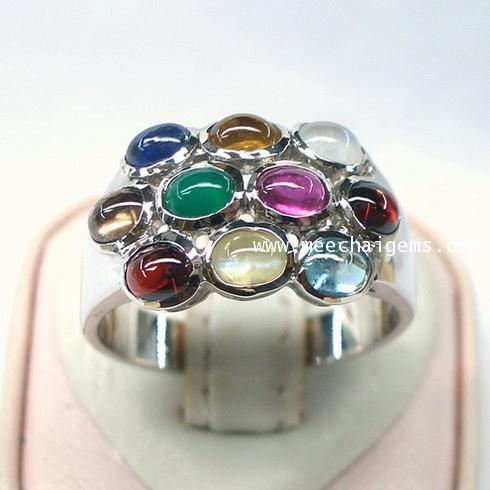 แหวนพลอยแท้สลับสีตัวเรือนเงินแท้