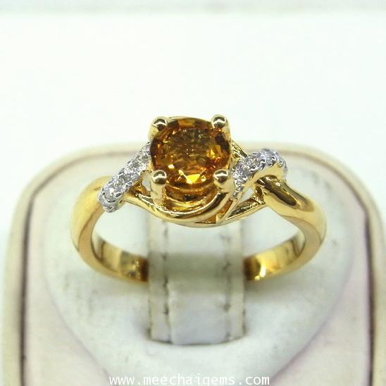 แหวนพลอยบุษราคัมแท้สีธรรมชาติดีไซน์น่ารัก