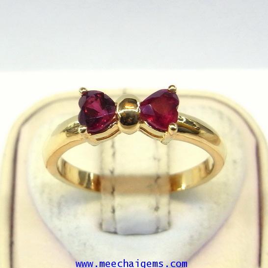 แหวนพลอยทับทิมจันท์หัวใจดีไซน์รูปโบว์
