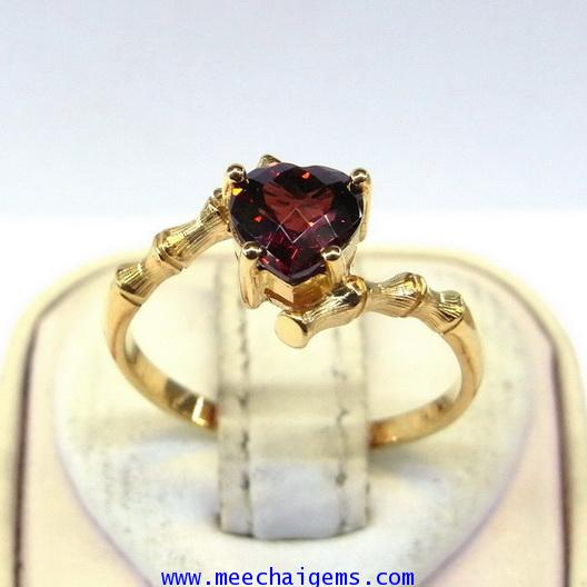 แหวนพลอยโกเมนหัวใจดีไซน์น่ารัก