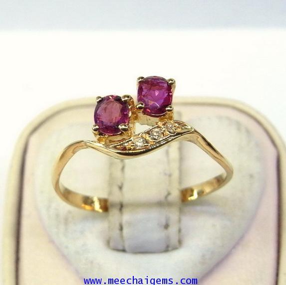 แหวนพลอยทับทิมจันท์แท้ดีไซน์น่ารักๆ