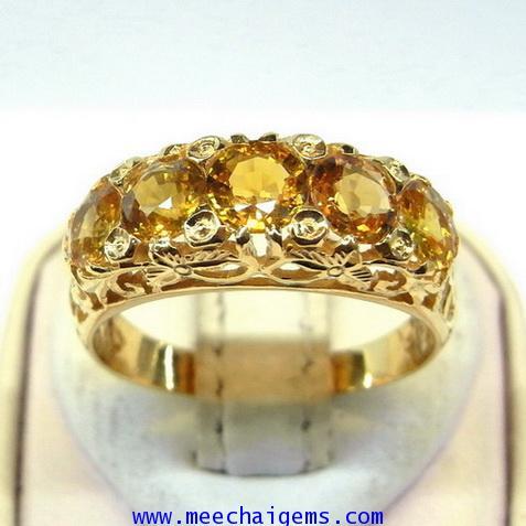 แหวนพลอยบุษราคัมแท้ดีไซน์ฉลุลายไทย