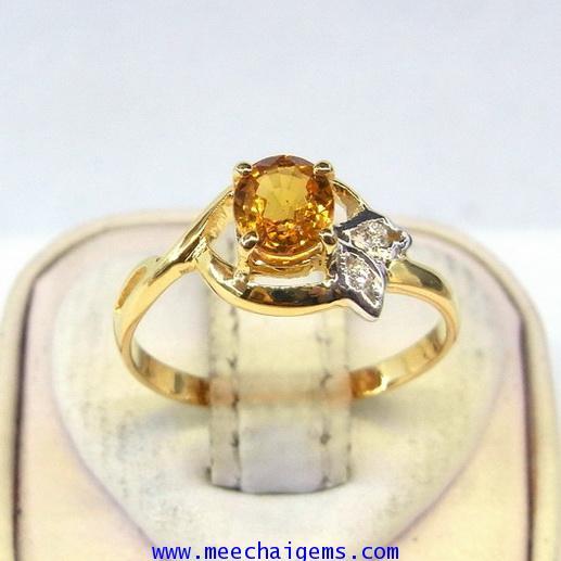 แหวนพลอยบุษราคัมแท้ประดับเพชร